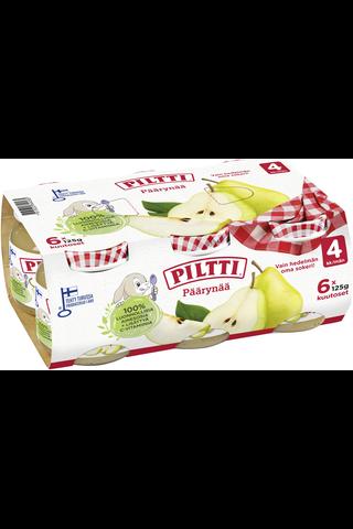 6xPiltti 6x125g Päärynää hedelmäsose 4kk
