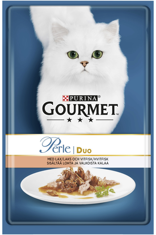 Gourmet 85g Perle Lohta & Valkoista kalaa Seaside Duo kissanruoka