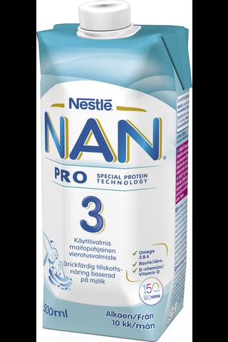 Nestlé Nan 500ml Pro 3 käyttövalmis maitopohjainen vieroitusvalmiste 10kk