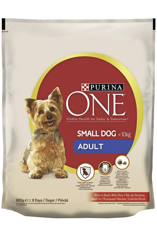 Purina ONE 800g Small Dog <10kg Adult Runsaasti nautaa koiranruoka sisältää riisiä
