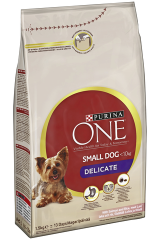 Purina ONE 1,5kg Small Dog <10kg Delicate sisältää lohta ja riisiä koiranruoka