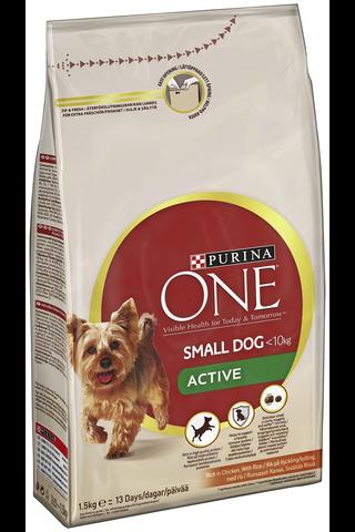 Purina ONE 1,5kg Small Dog <10kg Active Runsaasti kanaa koiranruoka sisältää riisiä