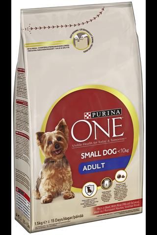 Purina ONE 1,5kg Small Dog <10kg Adult Runsaasti Nautaa koiranruoka sisältää riisiä