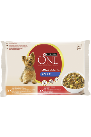 Purina One 4x100g Small Dog <10kg Adult Nautaa, Perunaa ja Herneitä ja Kanaa, Porkkanaa ja Vihreitä papuja ja lajitelma 2 varianttia koiranruoka