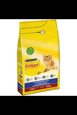 Friskies 1,5kg Sterilised Cats Nautaa ja Kasviksia kissanruoka