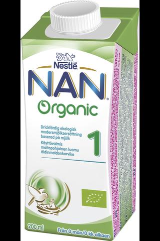 Nestlé Nan 200ml Organic 1 maitopohjainen käyttövalmis luomu äidinmaidonkorvike