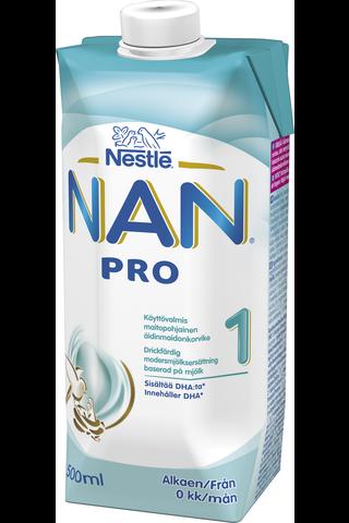 Nestlé Nan 500ml Pro 1 maitopohjainen käyttövalmis äidinmaidonkorvike