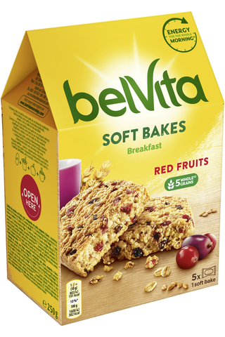 Belvita Soft Bakes Red Berries välipalakeksi 250g