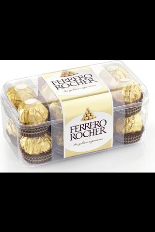 Ferrero Rocher maitosuklaalla ja hasselpähkinärouheella kuorrutettu rapea vohvelierikoisuus sisällä kokonainen hasselpähkinä hasselpähkinäkreemissä 16kpl/200g