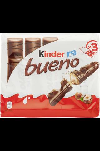 Kinder Bueno 3-pack maitosuklaapäällysteinen vohveli maitoisalla hasselpähkinätäytteellä x 43g