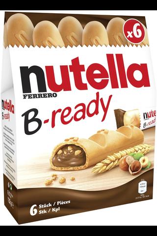 Nutella B-Ready Rapea vohveli täytettynä hasselpähkinä-kaakaolevitteellä ja vehnämuroilla 6kpl/135g