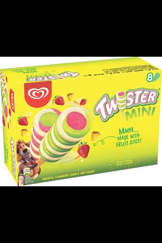 Twister 400ml/362g Mini mehujäälajitelma ananas-mansikka-lime 8kpl