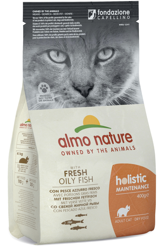Almo Nature 400g Holistic Cat siika & riisi kuivaruoka kissoille