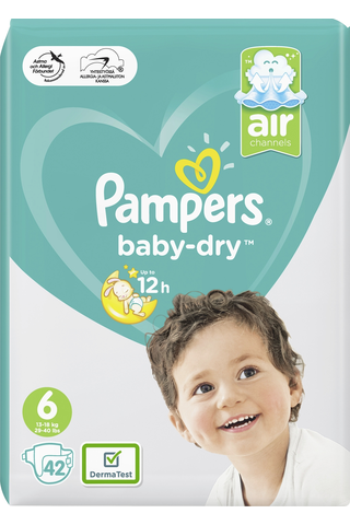 Pampers 42kpl BabyDry S6 13-18kg vaippa
