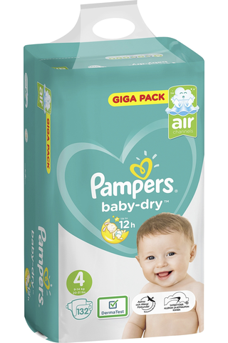 Pampers 132kpl BabyDry S4 9-14kg vaippa