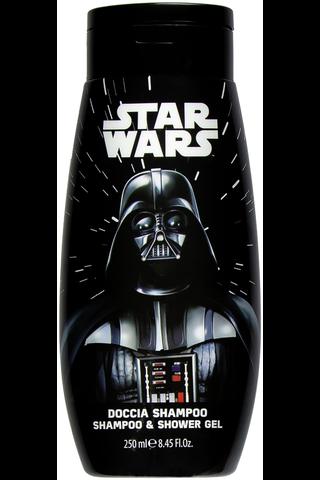 """Star Wars Klassinen 250ml """"tähdiltä"""" tuoksuva shampoo ja suikugeeli"""