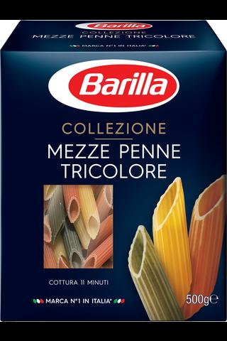 Barilla Mezze Penne Tricolore durumvehnäpasta tomaatilla ja pinaatilla 500g