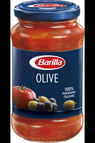 Barilla Olive vihreät ja mustat oliivit tomaattikastike 400g