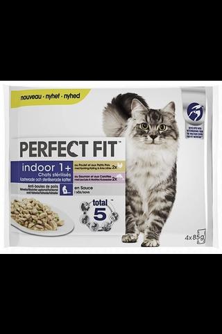 Perfect Fit Indoor Mix Kanaa&Lohta kastikkeessa 4x85g
