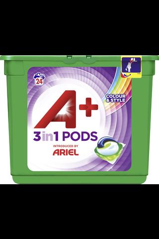 A+ Ariel 24kpl 3in1 Pods Color nestemäinen pykinpesutabletti