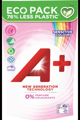 A+ 920ml Sensitive Color täyttöpakkaus pyykinpesuneste
