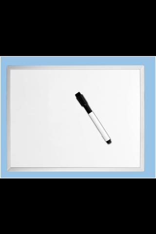 Magneettinen Desq valkotaulu alumiinikehyksellä ja tukevalla MDF-taustalla. Mukana kynäpidike ja valkotaulukynä, jossa pyyhin. Taulun koko on 300 X 400 mm.