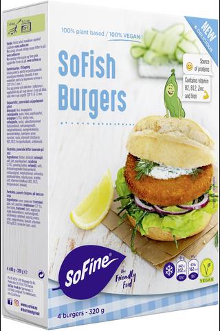 SoFine SoFish Burgers 320g vegaani kasvispihvi