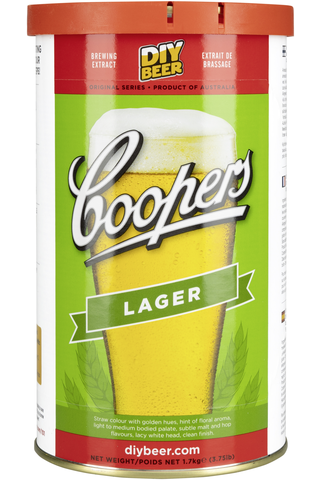 Coopers 1,7kg Lager humaloitu mallasuute ja oluthiiva 7g