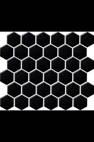 LPC Hexagon 5,1x5,9 kiiltävä musta mosaiikkilaatta