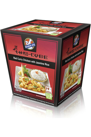 350g Kitchen Joy Thai-Cube Red Curry -kanaa ja  jasmiiniriisiä, pakasteateria
