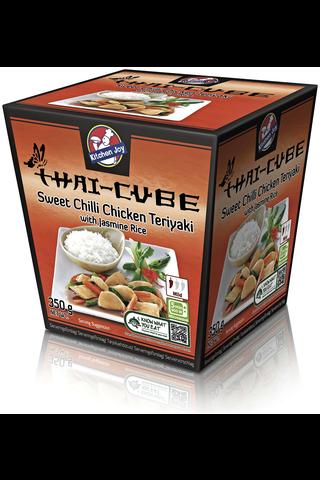 350g Kitchen Joy Thai-Cube Sweet Chili Teriyaki -kanaa ja jamiiniriisiä pakasteateria