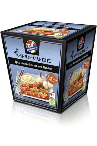 320g Kitchen Joy Thai-Cube Spicy Sesame -kanaa ja nuudeleita pakasteateria