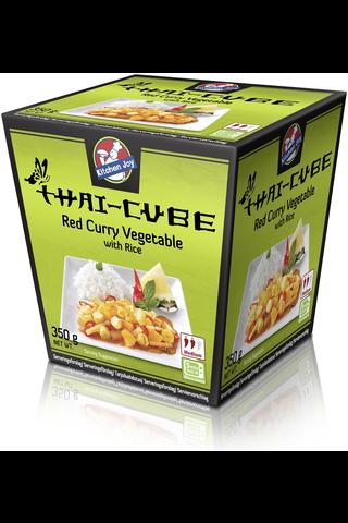 350g Kitchen Joy Thai-Cube Red curry -kasviksia ja jasmiiniriisiä, pakasteateria