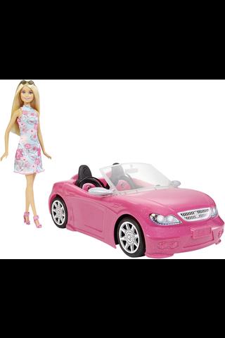 Barbie Glam convertible avoauto ja nukke