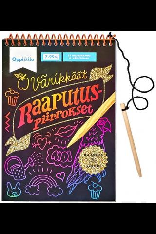 Oppi&ilo Värikkäät raaputuspiirrokset puuhakirja 7-99v