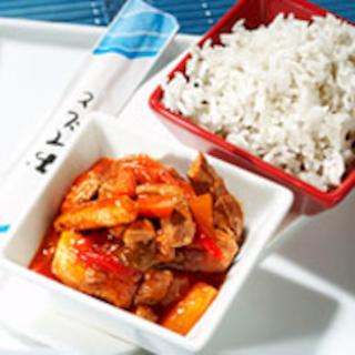 Riisiä ja kiinalaista possukastiketta