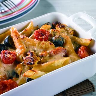 Tomaattinen pasta-broilerigratiini